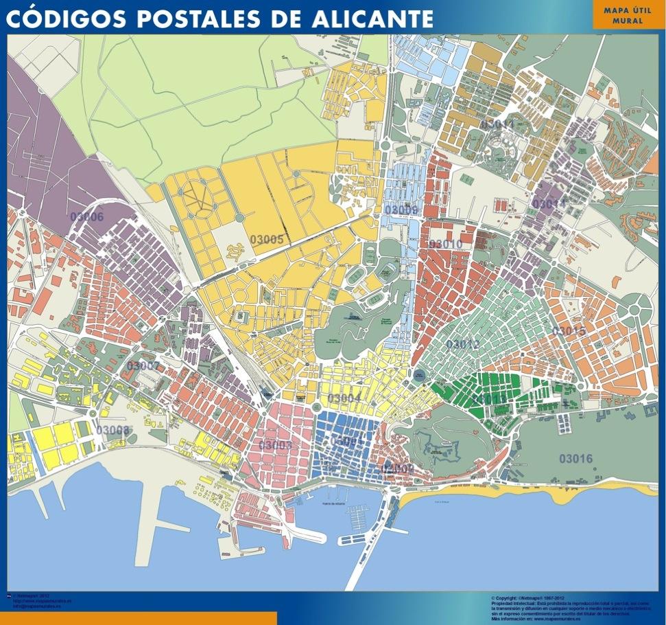 Mapa Codigos Postales Barcelona.Mapa Imanes Codigos Postales Alicante