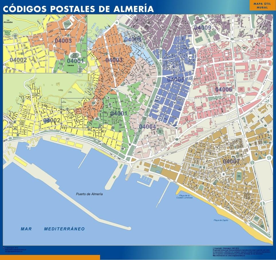 Mapa Codigos Postales Barcelona.Mapa Imanes Codigos Postales Almeria