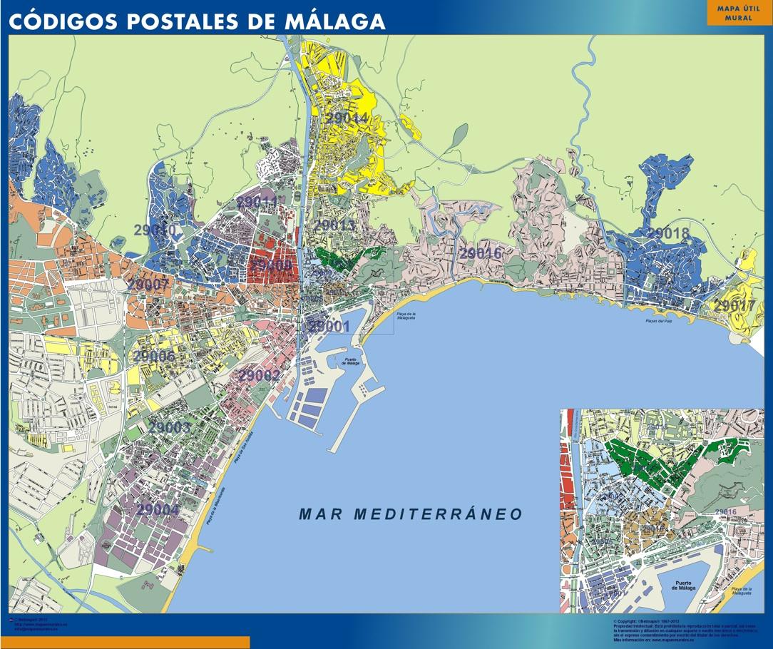Mapa Callejero De Malaga.Mapa Imanes Codigos Postales Malaga Mapas Imantados Para Imanes