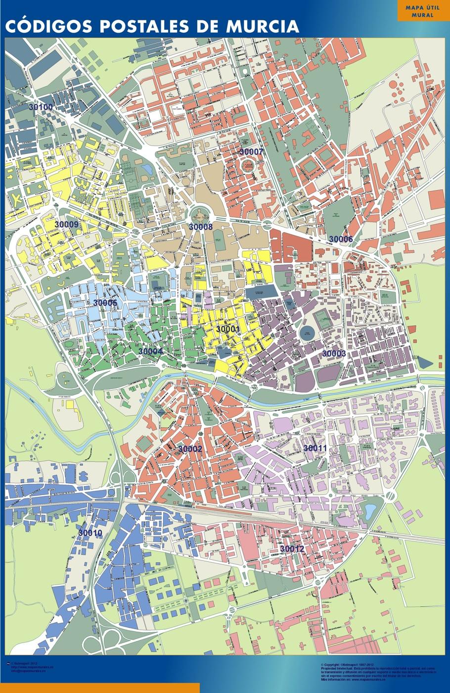 Mapa Codigos Postales Madrid.Mapa Imanes Codigos Postales Murcia
