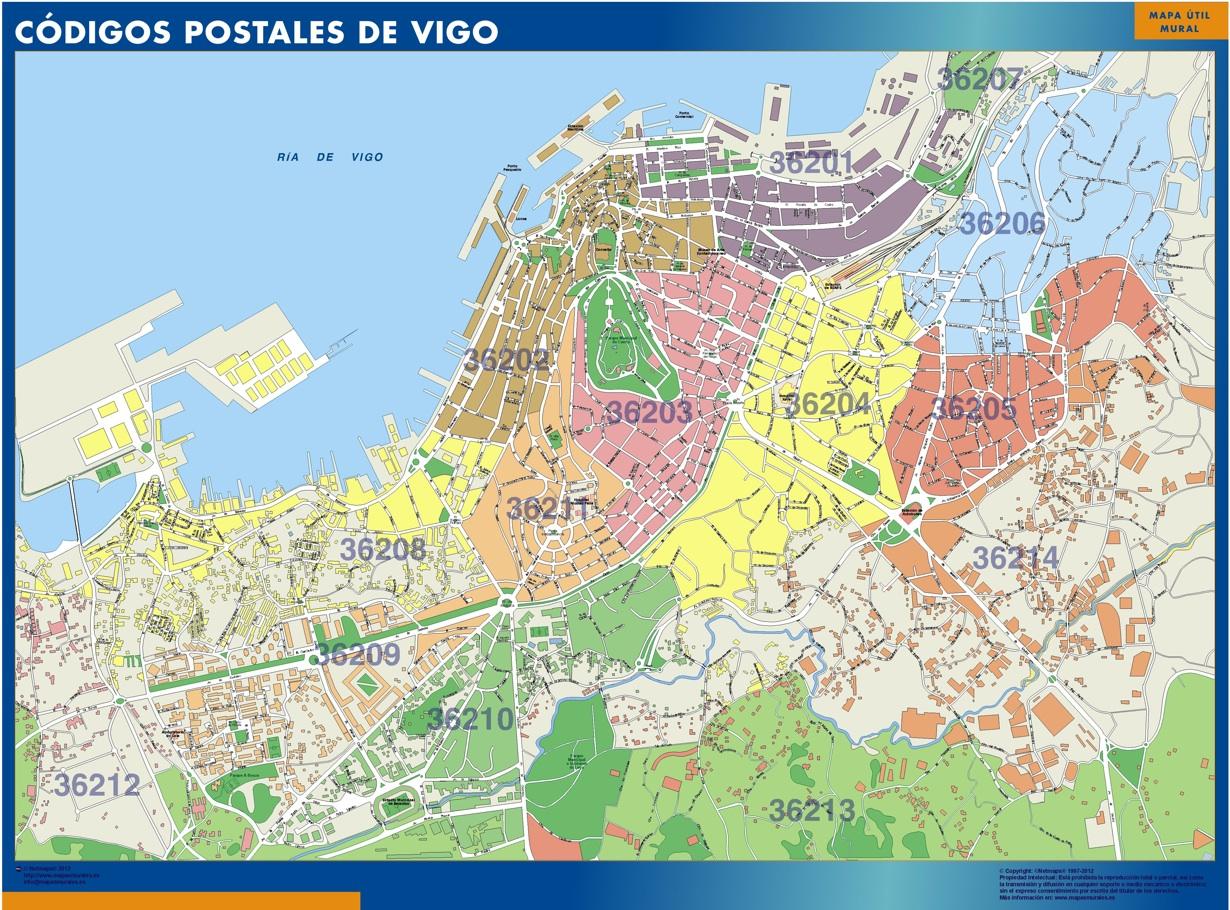 Mapa Codigos Postales Barcelona.Mapa Imanes Codigos Postales Vigo