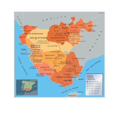 Mapa Imantado Municipios Cadiz